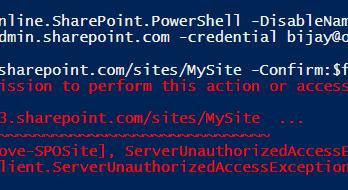 Remove-SPOSite Access denied