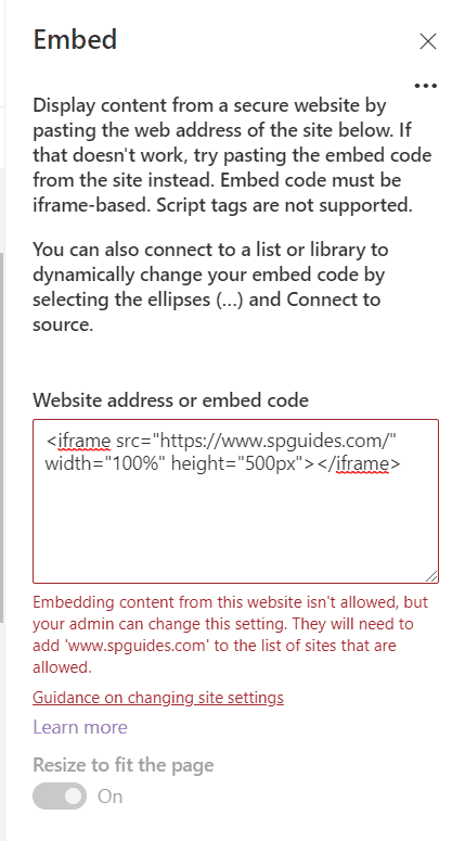 Embedding content from this website isn't allowed