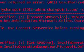 the remote server returned an error (401) unauthorized office 365
