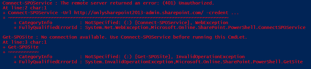 the remote server returned an error (401) unauthorized sharepoint powershell