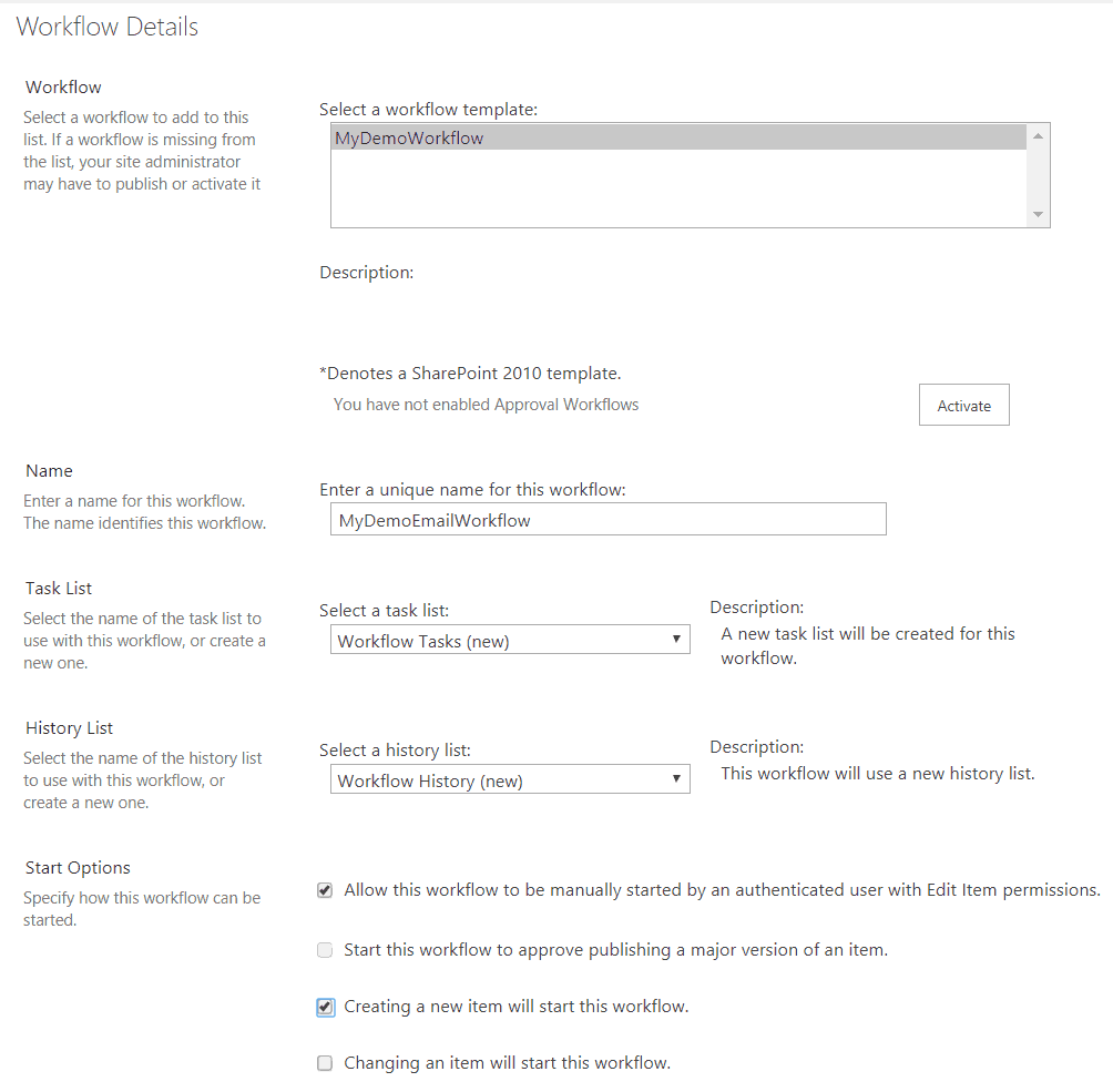 how to create a workflow in sharepoint 2016