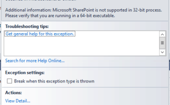 microsoft sharepoint is not supported in 32-bit process. please verify