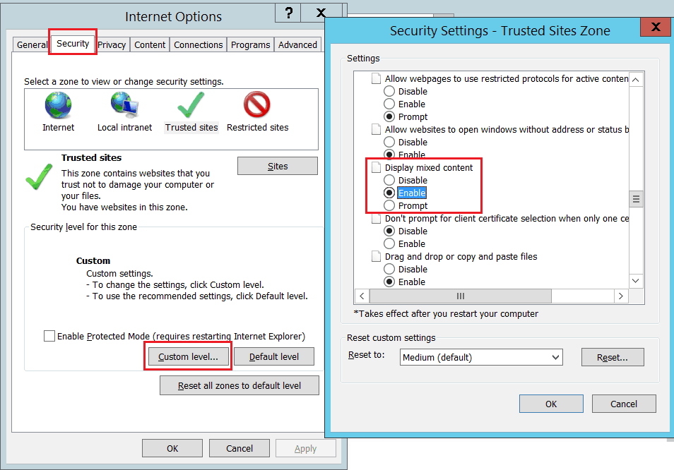 SharePoint online Only secure content is displayed