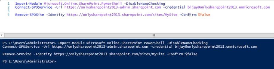 sharepoint online delete site collection powershell