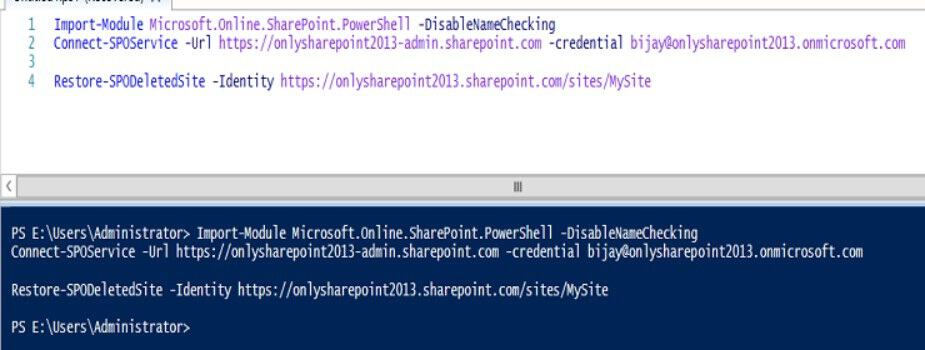 restore site collection sharepoint online powershell