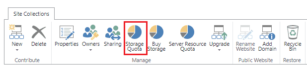 increase storage quota sharepoint office 365