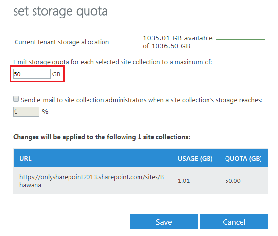 SharePoint online site collection storage quota