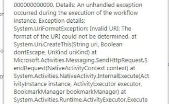 An unhandled exception occurred during the execution of the workflow instance