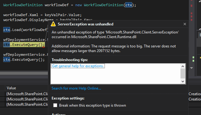 the request message is too big sharepoint online visual studio 2015 workflow