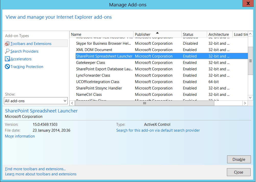this feature requires a browser that supports activex controls ie 11