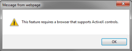this feature requires a browser that supports activex controls