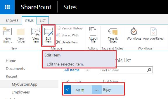SharePoint 2016 edit item to list