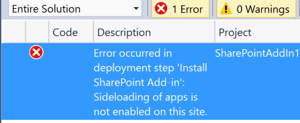Sideloading of apps is not enabled on this site