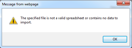 the specified file is not a valid spreadsheet sharepoint 2013
