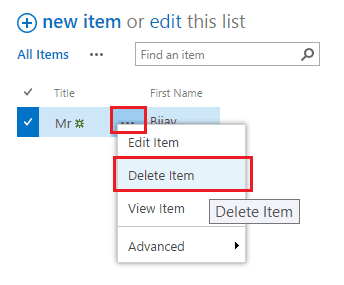 SharePoint Online delete item from list