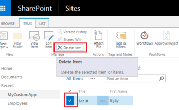 Delete item from SharePoint online list