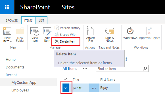 Delete items from SharePoint online list