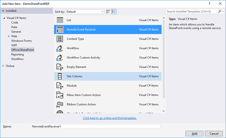 sharepoint online remote event receiver example