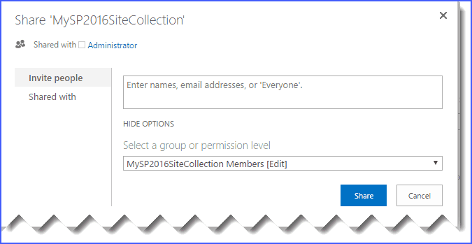 Share a Site in SharePoint 2016/2013