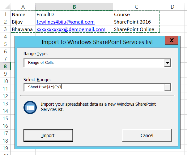import excel spreadsheet into sharepoint online list