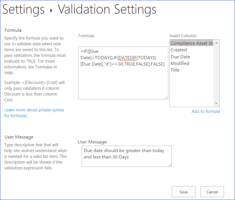 SharePoint column validation: Start date and end date validation