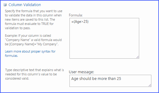 sharepoint 2013 column validation examples
