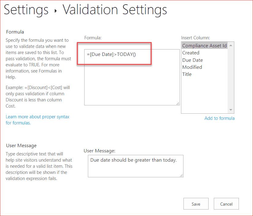 sharepoint column validation date