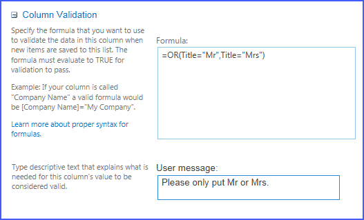 sharepoint column validation multiple conditions