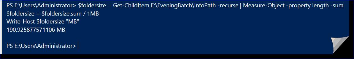 PowerShell Command to retrieve folder size