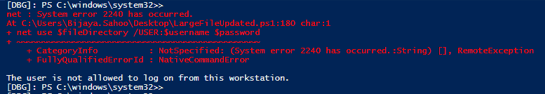 The user is not allowed to log on from this workstation