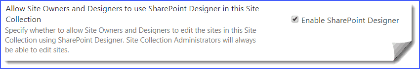 The web site has been configured to disallow editing with SharePoint Designer