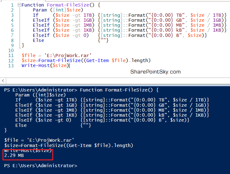 How to check file size using PowerShell?