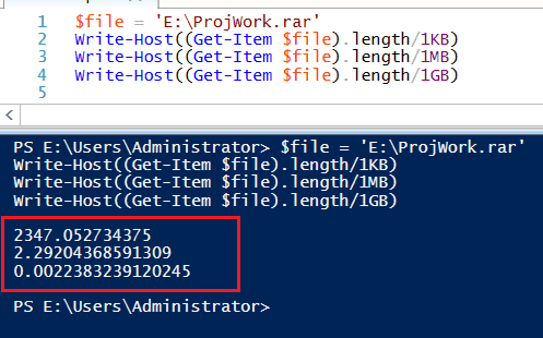 Check file size using PowerShell