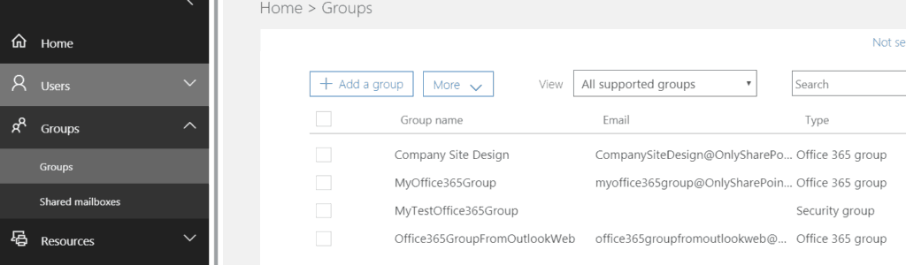 View all office 365 groups