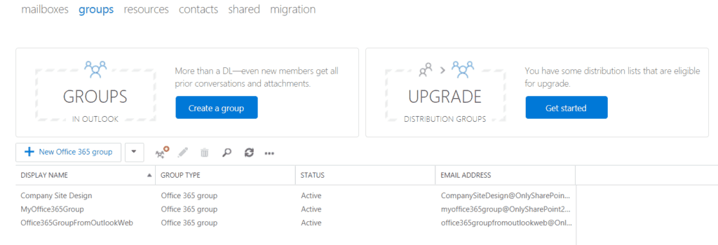 Create Office 365 groups from exchange