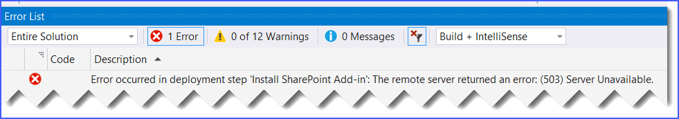 Error occurred in deployment step Install SharePoint Add-in The remote server returned an error (503) Server Unavailable
