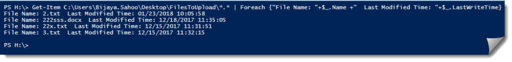 PowerShell get last modified time of files in folder