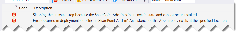 Skipping the uninstall step because the SharePoint Add-in is in an invalid state and cannot be uninstalled