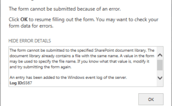 The form cannot be submitted to the specified SharePoint document library