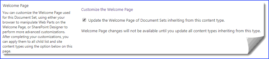 Document Sets properties welcome page not appearing in SharePoint Online