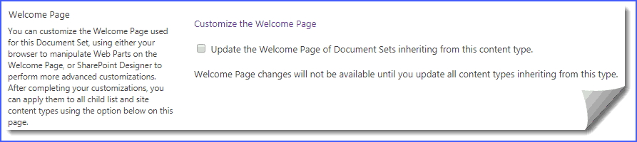 document set welcome page