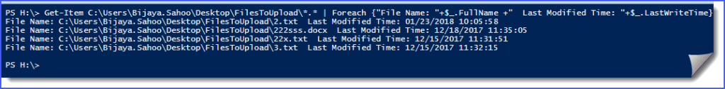 PowerShell cmdlets get last modified file in directory