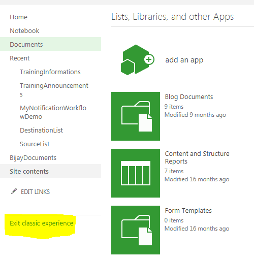 sharepoint site switch to new experience