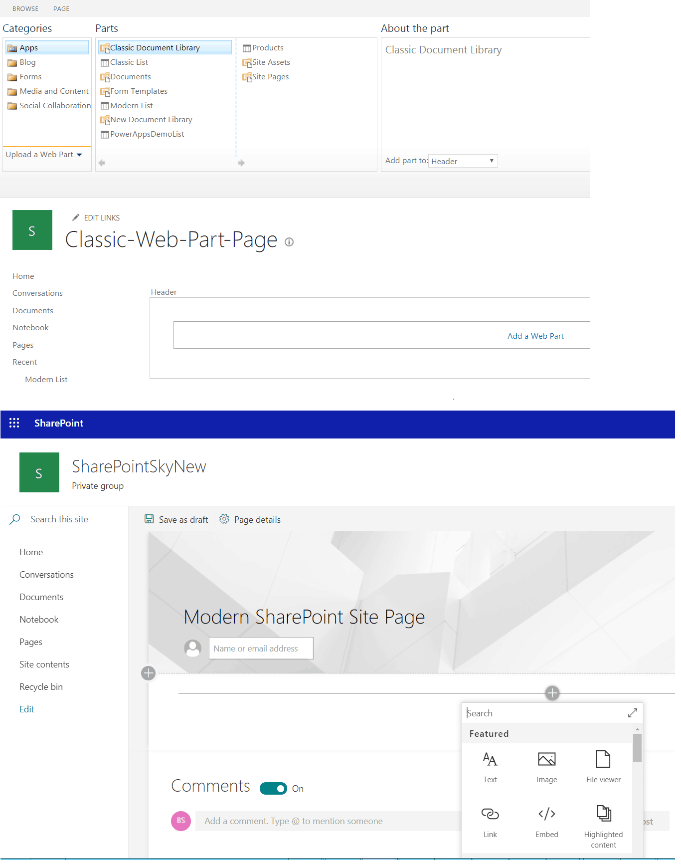 SharePoint Modern Pages and web parts