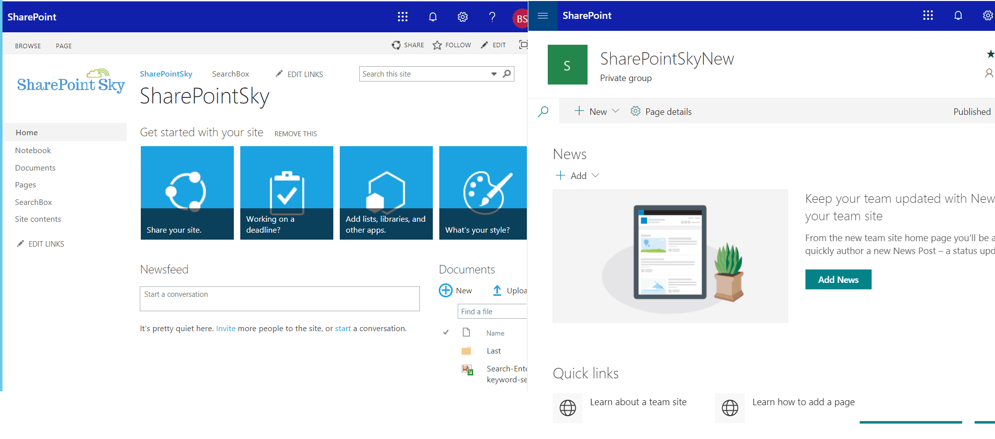 SharePoint classic and modern experiences