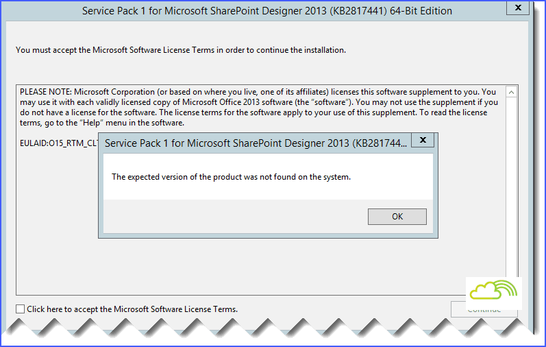 The expected version of the product was not found on the system