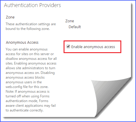how to enable anonymous authentication in sharepoint 2013