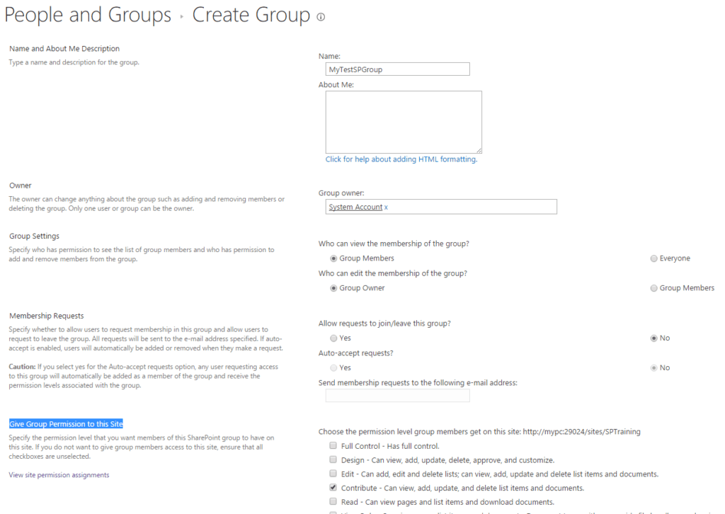 SharePoint 2016 Create SharePoint permission group
