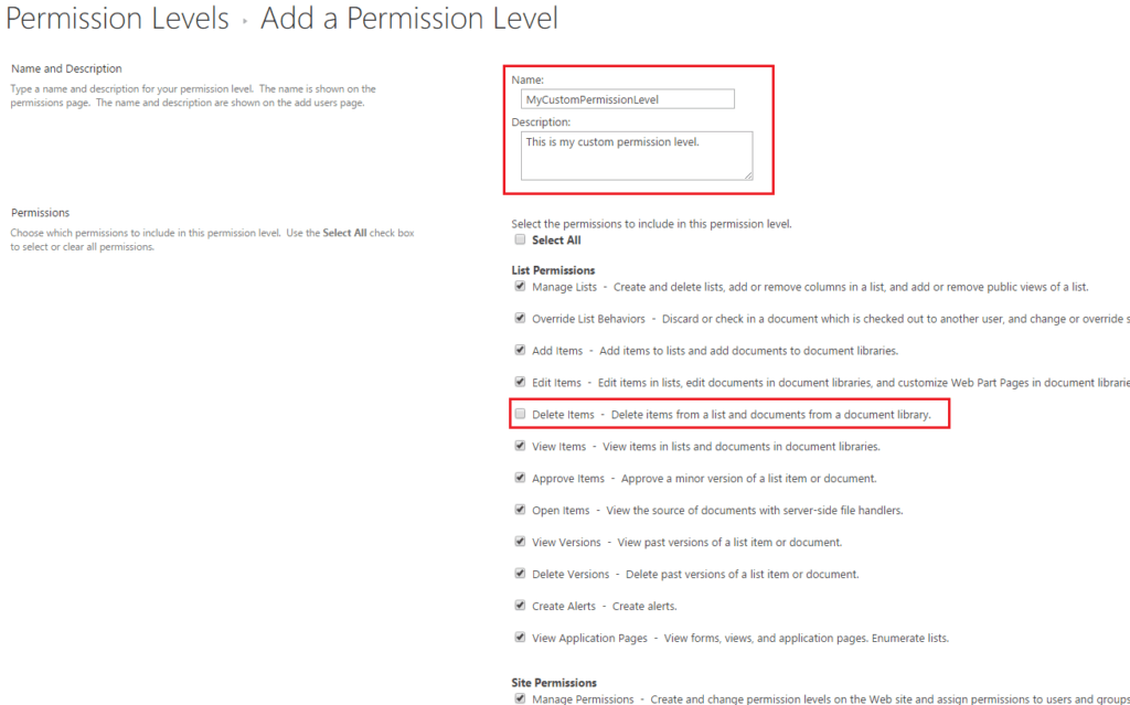 Create custom permission levels sharepoint online