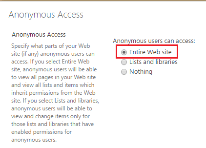 how to enable anonymous access on a SharePoint site or lists and libraries